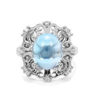 Swiss Blue Topaz & White Zircon Sterling Silver Ring ATGW 7.03cts