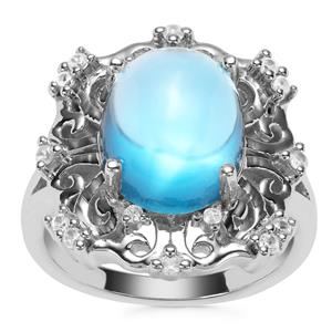 Swiss Blue Topaz Ring with White Zircon in Sterling Silver 7.03cts