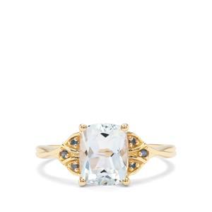 Madagascan Aquamarine & Blue Diamond 9K Gold Ring ATGW 1.89cts