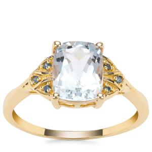 Madagascan Aquamarine Ring with Blue Diamond in 9K Gold 1.89cts