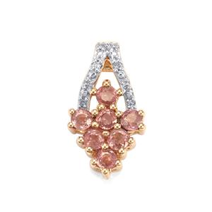 Padparadscha Sapphire & Diamond 9K Gold Pendant ATGW 1.16cts