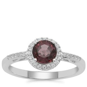 Burmese Spinel Ring with White Zircon in Sterling Silver 1.24cts