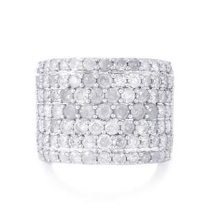 Diamond Ring in Sterling Silver 4ct