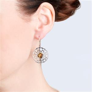 Cognac Quartz Earrings  in Sterling Silver 3.56cts