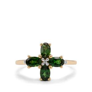 Chrome Tourmaline Ring with Diamond in 9K Gold 0.81ct