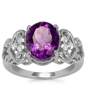Zambian Amethyst Ring with White Topaz in Sterling Silver 3.63cts