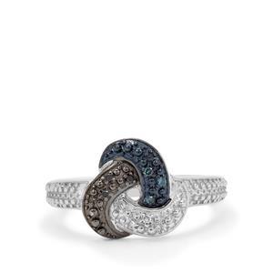 1/20ct Blue, Black & White Diamond Sterling Silver Ring