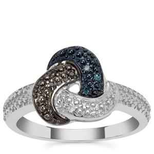 Blue, Black Diamond Ring with White Diamond in Sterling Silver 0.05ct