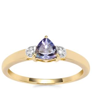 Bi Colour Tanzanite Ring with Diamond in 10K Gold 0.51ct