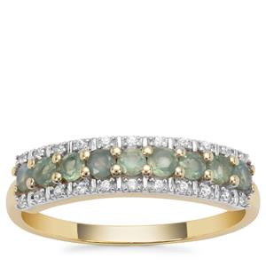 Alexandrite Ring with White Zircon in 9K Gold 0.60ct