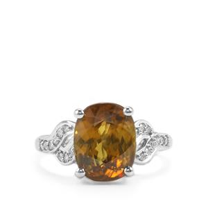 Ambilobe Sphene Ring with Diamond in 18K White Gold 5.47cts