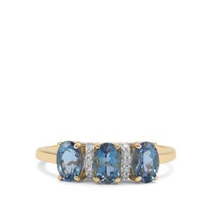 Nigerian Aquamarine & Diamond 9K Gold Ring ATGW 1.24cts