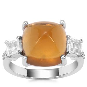 Honey Quartz Ring with White Zircon in Sterling Silver 9.60cts