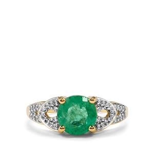 Ethiopian Emerald Ring with Diamond in 18k Gold 2.25cts