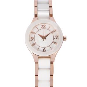 Montreux Mother of Pearl and Diamond Ceramic Rose Gold Plated Stainless Steel Watch ATGW 0.03ct