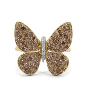 1.48ct Champagne & White Diamond 9K Gold Butterfly Ring