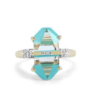 Lehrer Cosmic Obelisk Turquoise, Optic Quartz Ring with Diamond in 10K Gold 6.81cts