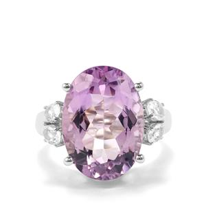 Rose De France Amethyst & White Topaz Sterling Silver Ring ATGW 11.72cts