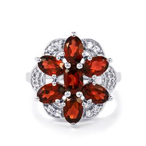 Rajasthan Garnet Ring with White Topaz in Sterling Silver 4.25cts