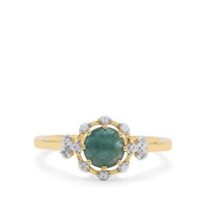 Grandidierite Ring with White Zircon in 9K Gold 0.95cts
