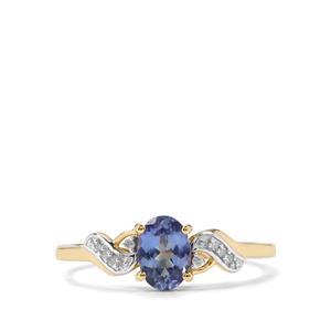 Bi Colour Tanzanite & Diamond 10K Gold Ring ATGW 0.74cts