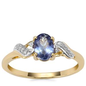 Bi Colour Tanzanite Ring with Diamond in 10K Gold 0.74ct