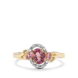 Padparadscha Sapphire & Diamond 9K Gold Ring ATGW 1.06cts