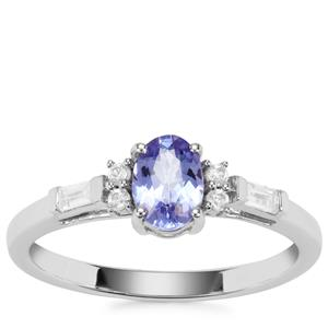 AA Tanzanite Nora Saul Ring with White Zircon in Sterling Silver 1.03cts