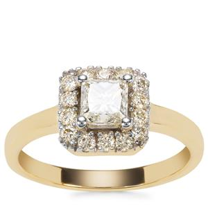 Yellow Diamond Ring in 18K Gold 1ct