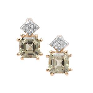 Asscher Cut Csarite® & Diamond 9K Gold Earrings ATGW 1.56cts