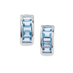 Swiss Blue Topaz Earrings in Sterling Silver 3.04cts
