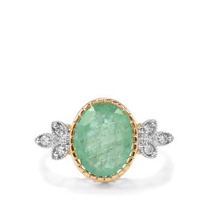 Siberian Emerald Ring with Diamond in 18k Gold 3.39cts
