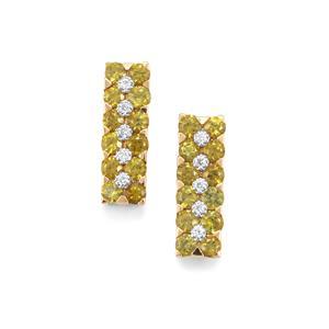 Apache Demantoid Garnet Earrings with Diamond in 18K Gold 1.11cts