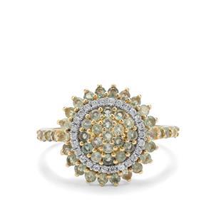 Alexandrite & White Zircon 9K Gold Ring ATGW 1.08cts