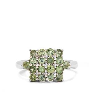 1.76cts Songea Green Sapphire Sterling Silver Ring