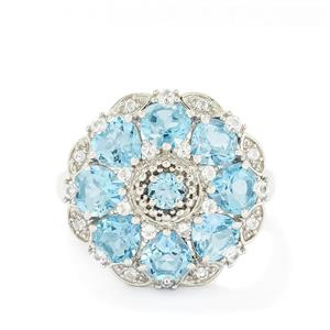 4.93ct Swiss Blue & White Topaz Sterling Silver Ring