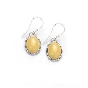 Baltic Butterscotch Amber Earrings in Sterling Silver (16 x 12mm)