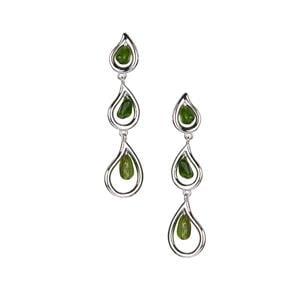 6.45ct Green Tourmaline Rhodium Flash Sterling Silver Earrings