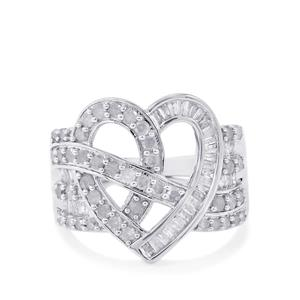 1ct Love Heart Diamond Sterling Silver Ring