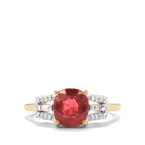 Nigerian Rubellite & Diamond 18K Gold Tomas Rae Ring MTGW 2.12cts