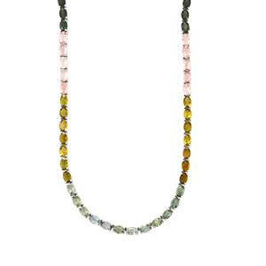 Rainbow Tourmaline Necklace in Sterling Silver 31.57cts