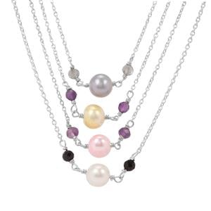 Kaleidoscope Gemstones Set of 4 Bead Necklace in Sterling Silver