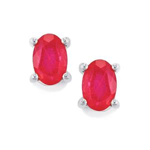 Malagasy Ruby Earrings in Sterling Silver 1.46cts (F)