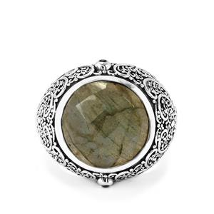 Labradorite & Black Spinel Sterling Silver Ring ATGW 9.75cts