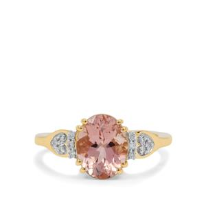 Peach Morganite Ring with Diamond in 18K Gold 2.78cts