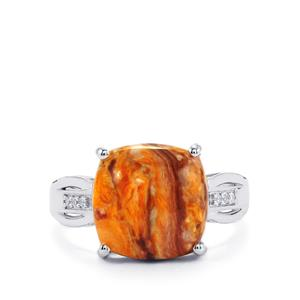 Lion's Paw Shell (12x12mm) & White Topaz Sterling Silver Ring