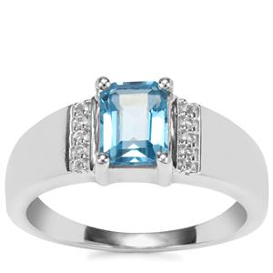 Swiss Blue Topaz Ring with White Topaz in Sterling Silver 1.91cts