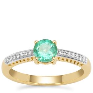 Ethiopian Emerald Ring with Diamond in 18K Gold 0.60ct