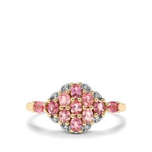 Padparadscha Sapphire & Diamond 9K Gold Ring ATGW 1.07cts