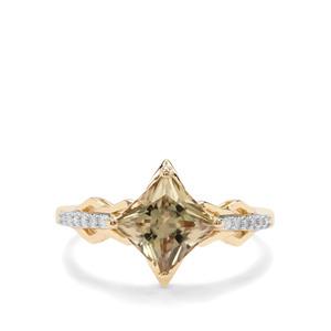 Csarite® & Diamond 9K Gold Ring ATGW 2.04cts
